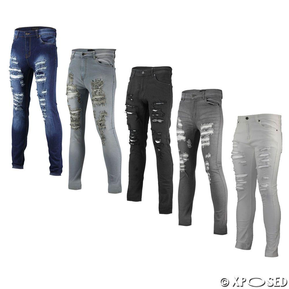 d4b8f327e474 New Mens Skinny Jeans Super Stretch Ripped Cutaway Extreme Open Frayed Rip  Denim