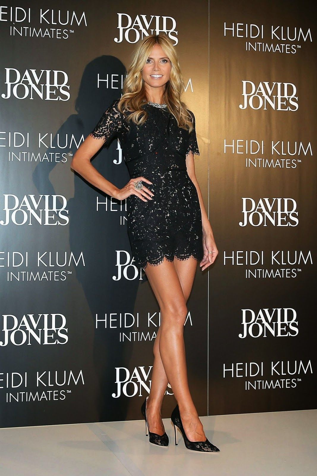 be0b89702c Heidi Klum wears a lace mini dress at the launch of HK Intimates in Sydney
