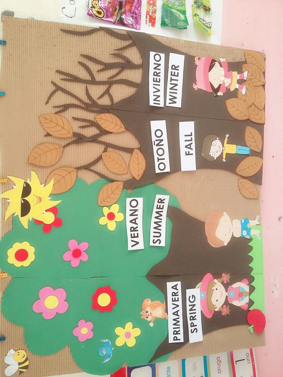 Estaciones de año (español e ingles) para preescolar