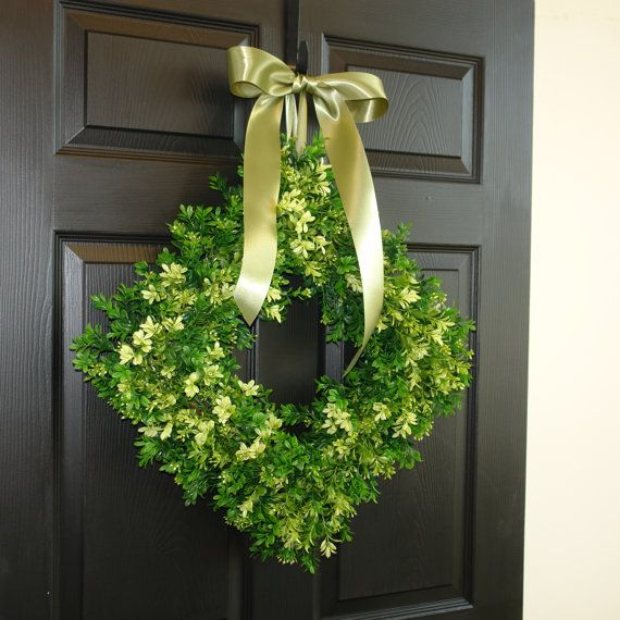 Items Similar To Spring Wreath Summer Wreath Front Door Wreaths Outdoor Wreath  Square Boxwood Wreath Decorations Rustic Wedding On Etsy