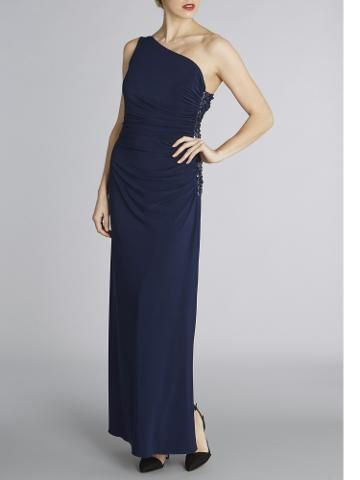 Buy Gina Bacconi One Shoulder Jersey Sequin Gown, Spring Navy | John Lewis