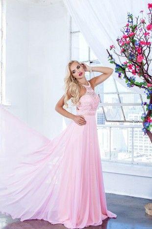 Pink Embellish A-Line Prom Dress 4038