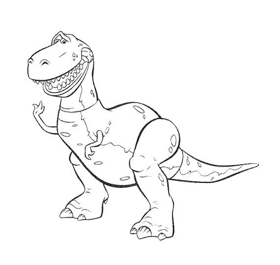 toy story rex the widening mouth coloring page for kids