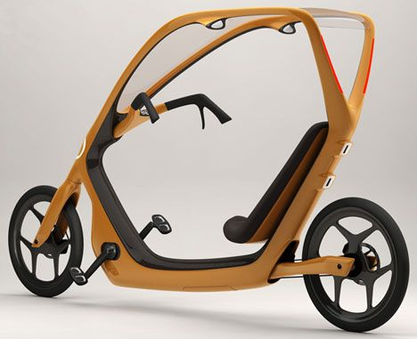 ThisWay was designed by Torkel Dohmar and came top spot in the Commuter Bike For The Masses design competition. The style was influenced heavily by car and motorcycle design in an attempt to make the transition to bicycles easier for those accustomed to motored transportation. ThisWay Recumbent Bicycle Concept has the rain covered. Sources:Bicycle Design via Stuff What