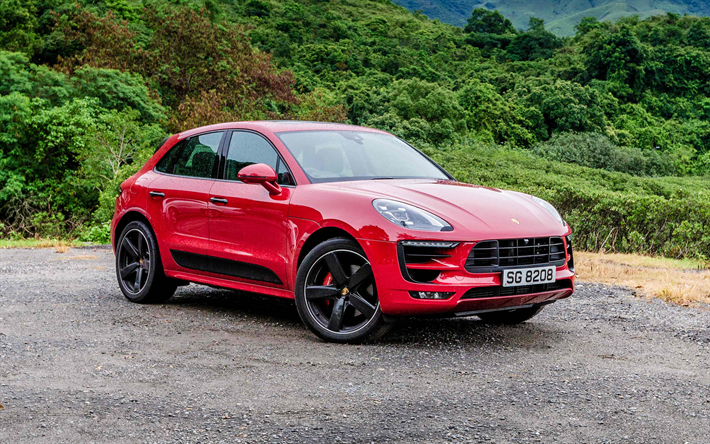 Download Wallpapers Porsche Macan Gts 2017 Red Macan Sporty Suv