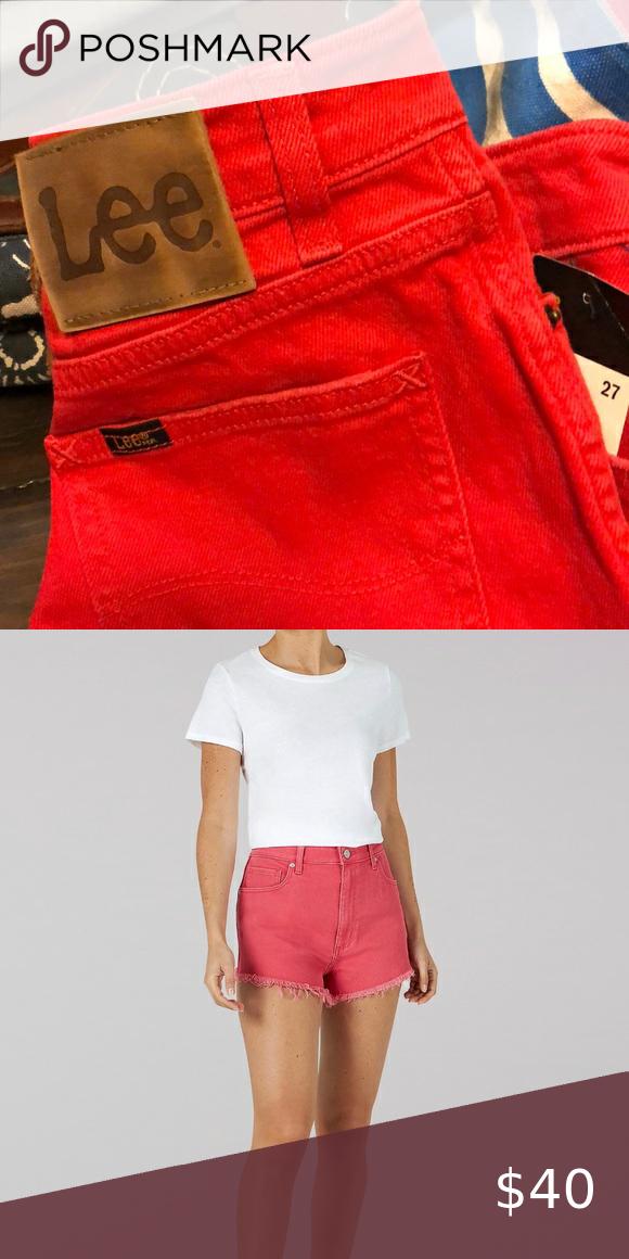 Lee Jean Red High-waist Shorts Size 27. Cut Offs
