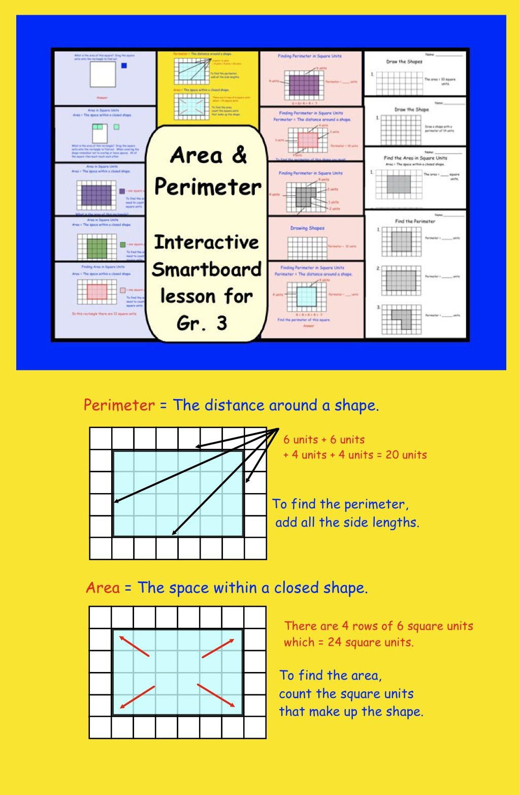 Area And Perimeter Interactive Smartboard Lesson For Gr 3