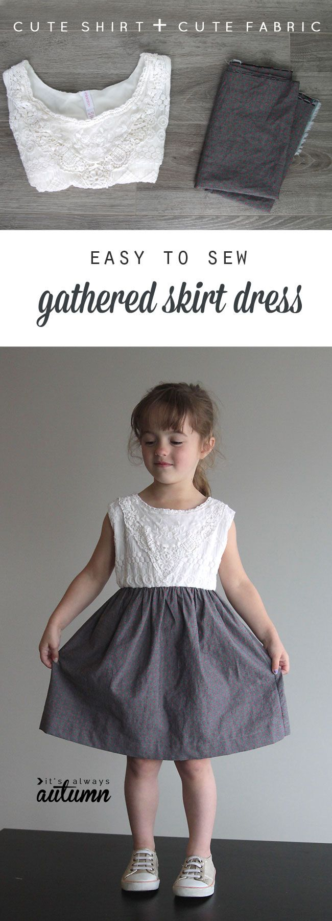 730289dab226 All you need is a cute tee and some fabric to make this super easy gathered  skirt dress. Great DIY sewing tutorial!
