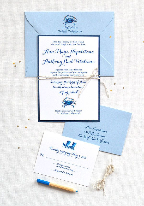 Blue Crab | Nautical wedding invitations, Nautical wedding and Weddings