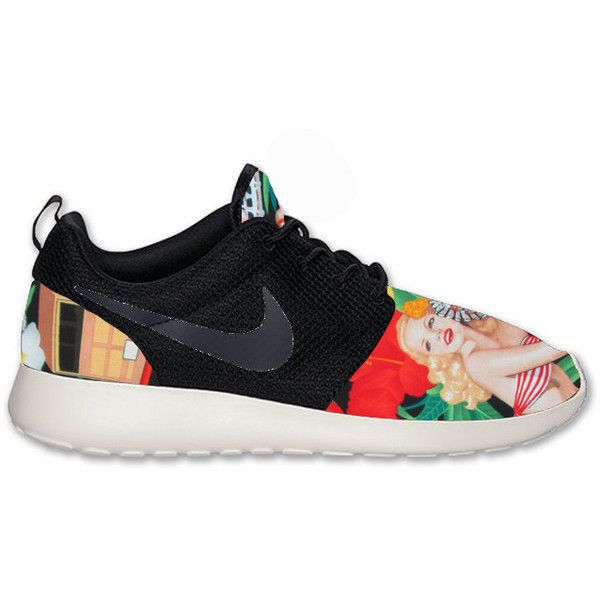 1965b69bb132 Nike Roshe Run Black Anthracite Island Girl Floral Print Custom ( 205) ❤  liked on Polyvore featuring shoes