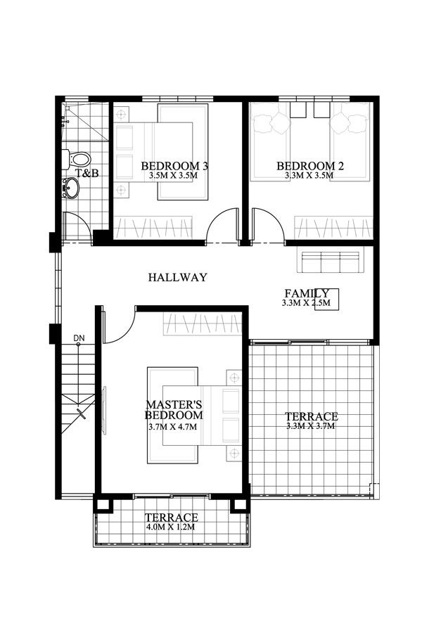 Mateo Model Is A Four Bedroom Two Story House Plan That Can Conveniently Be Constructed Modern House Plan Two Storey House Plans Modern House Floor Plans