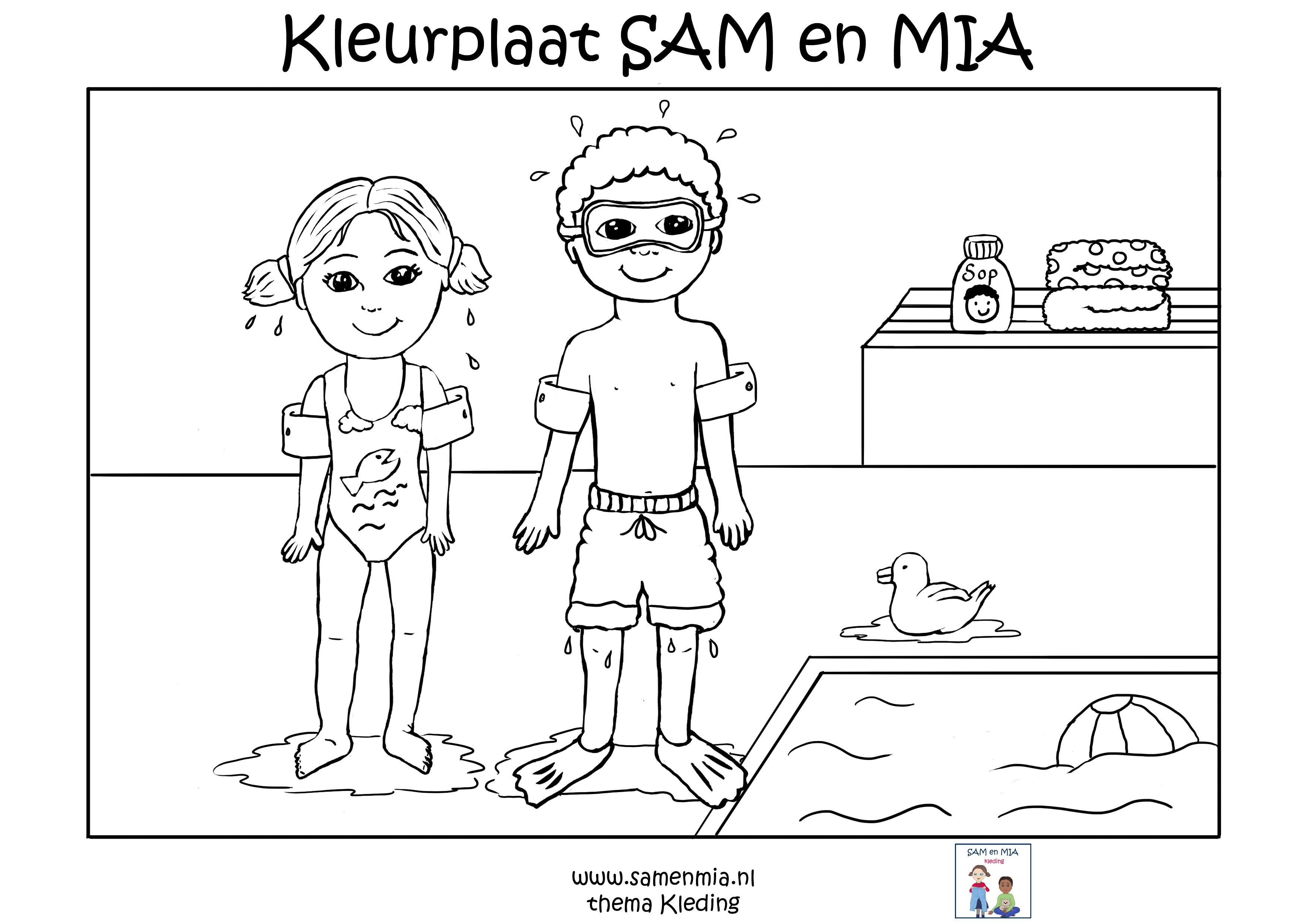 Kleurplaat Sam En Mia Thema Kleding Zwemkleren Kleurplaten Thema Peuter Thema