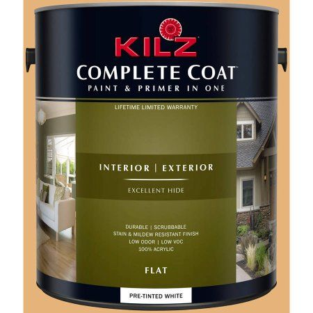Kilz Complete Coat Interior/Exterior Paint & Primer in One, #LD160-02 Butterscotch Sauce, Brown