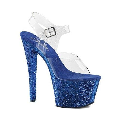 6dbc3ab749b Women's Pleaser Sky 308LG Platform Sandal - Clear PVC/Blue Glitter ...