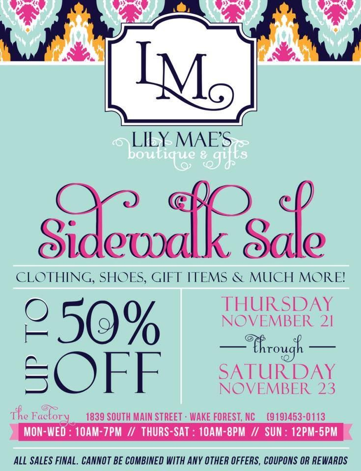 Lily Mae S Boutique And Gifts Sidewalk Sale Flyer And Poster Design