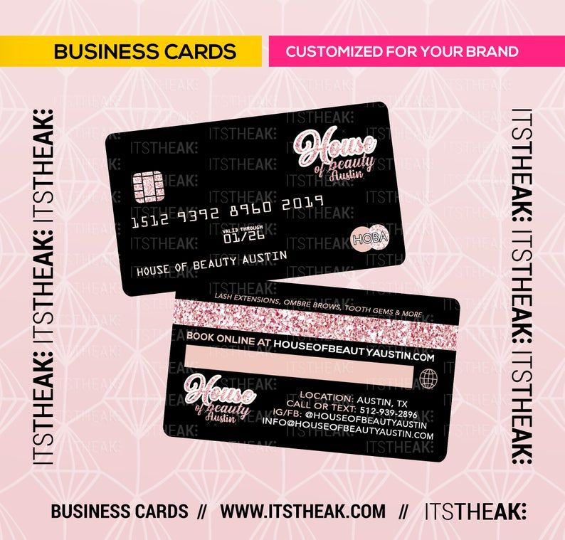 Credit Card Style Business Cards Customized For Your Brand Etsy In 2021 Beauty Business Cards Prepaid Credit Card Credit Card Deals