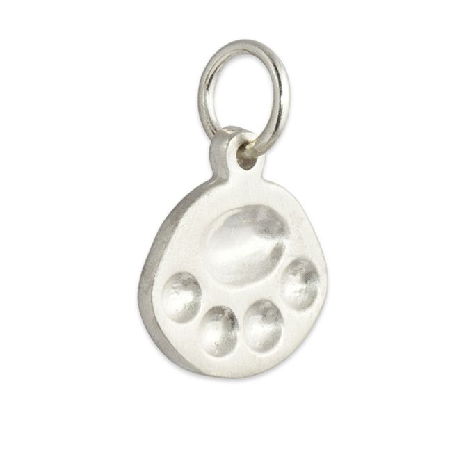 Paw Charm Personalized in Sterling Silver and 14kt yellow, pink and white gold