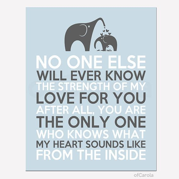 Elephants Wall Art Print No One Else Will Ever Know The Strength Of My Love For You Quote, Personalized Hearts Love Blue Gray White ofCarola... - P.S:You can lose weight fast using these natural drops from-> XRasp.com