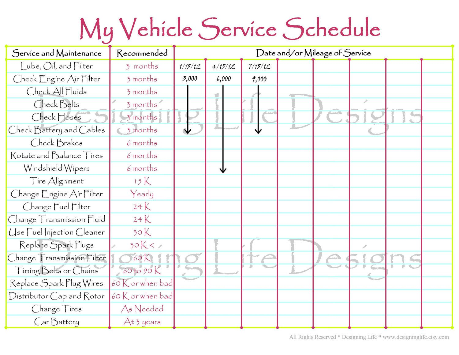 photograph regarding Car Maintenance Schedule Printable identify Automobile Timetable Printable - Editable Assistance Log - House Binder