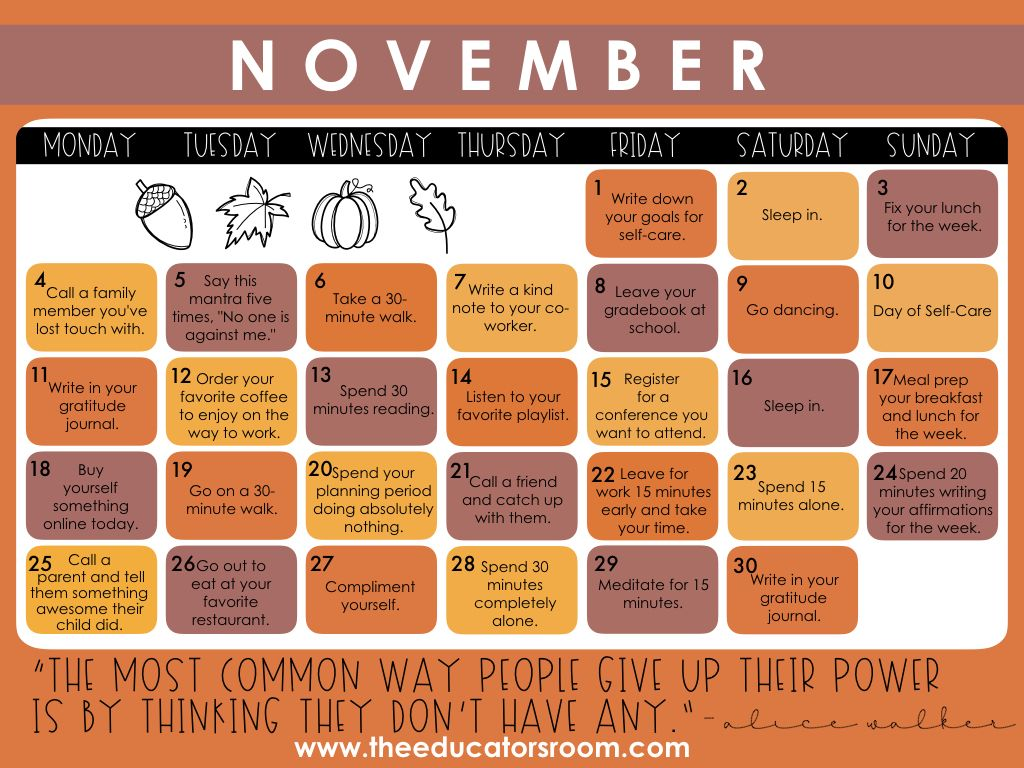 Teacher SelfCare Calendar November 2019 Care calendar