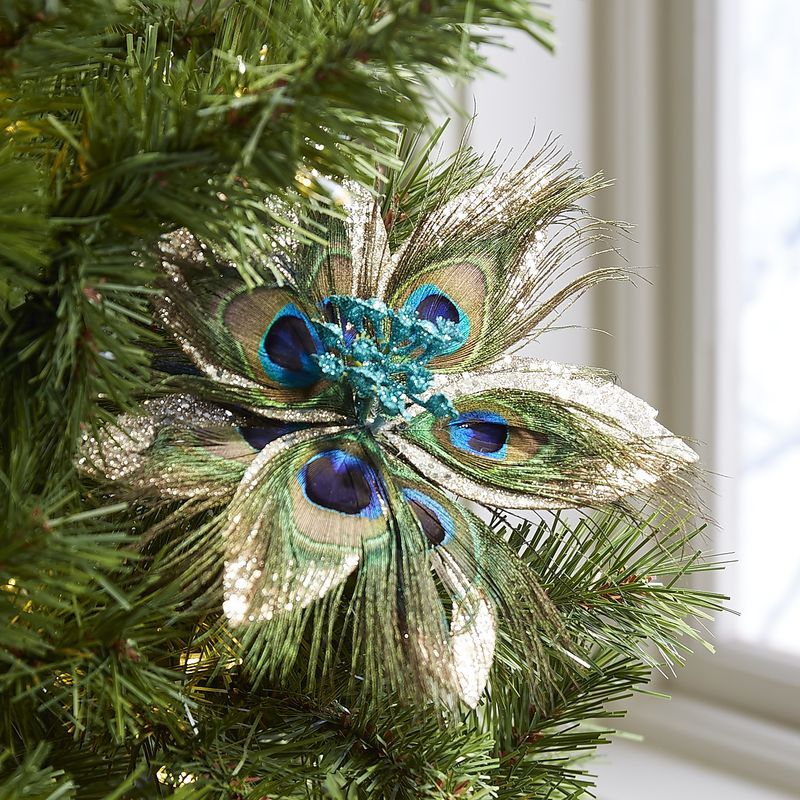 Peacock Feather Flower Clip Ornament home Pinterest Peacock - peacock christmas decorations
