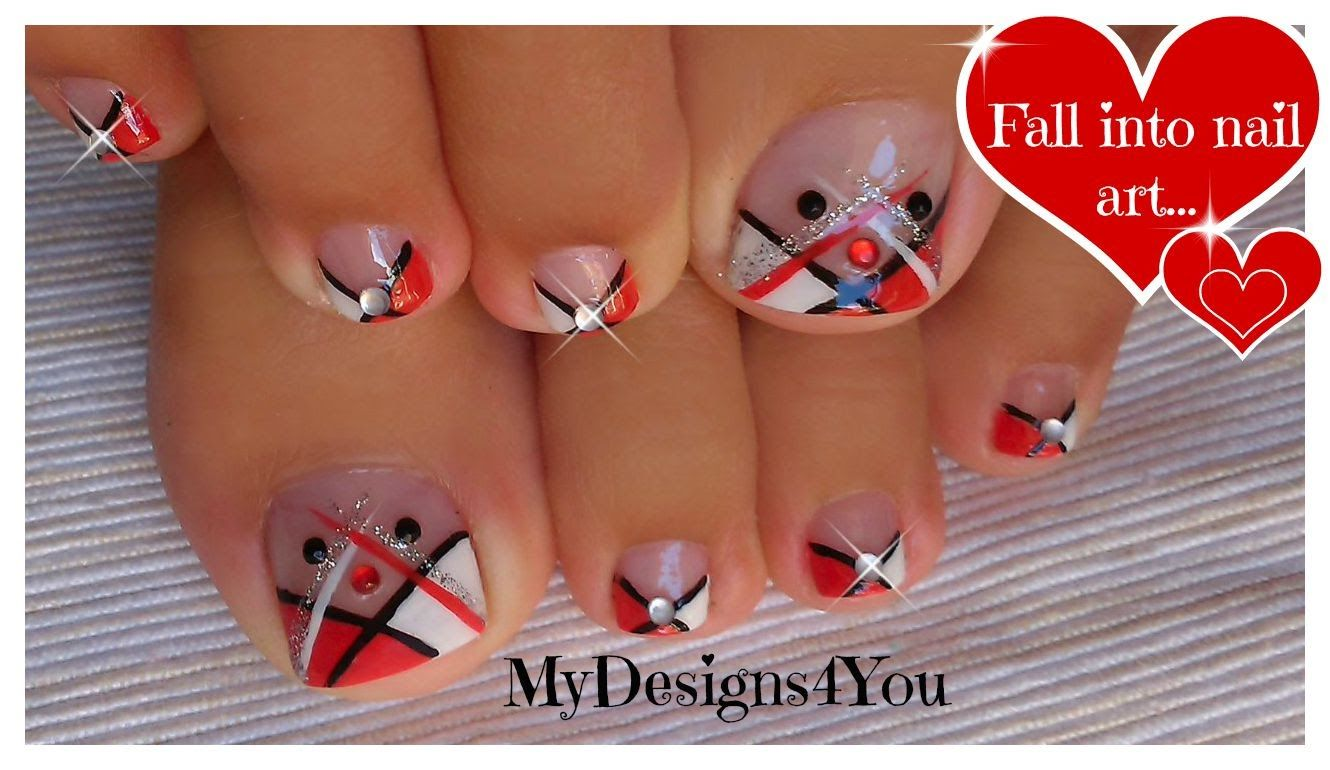 Abstract Toenail Art | Red, Black and White Pedicure ♥ Абстрактный ...