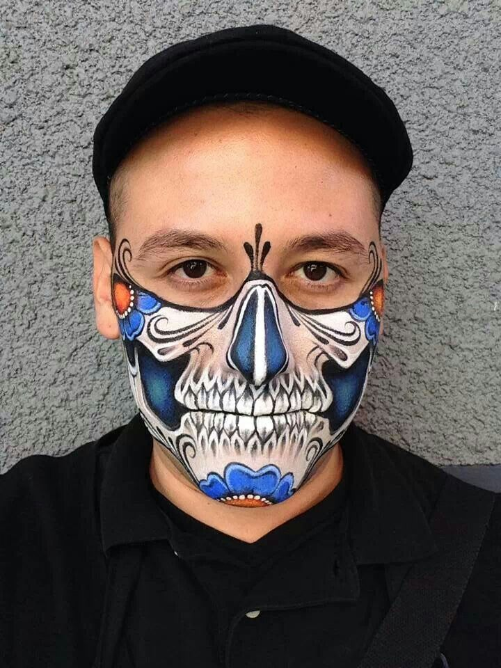 Very cool male skull makeup, face paint. Graphic style