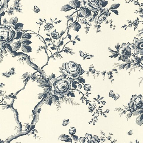 Ashfield Floral - Sapphire - Archival English Papers - Wallcovering - Products - Ralph Lauren Home - RalphLaurenHome.com