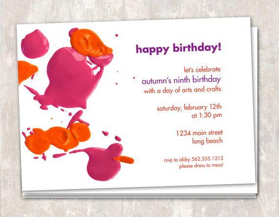 Art Party Birthday Invitations set of 12 PRINT & by paperandcake, $22.95