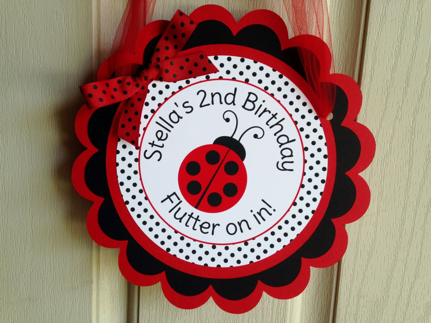 Ladybug Birthday Party Personalized Welcome Door Sign in Red and Black -  Ladybug Party Decorations -