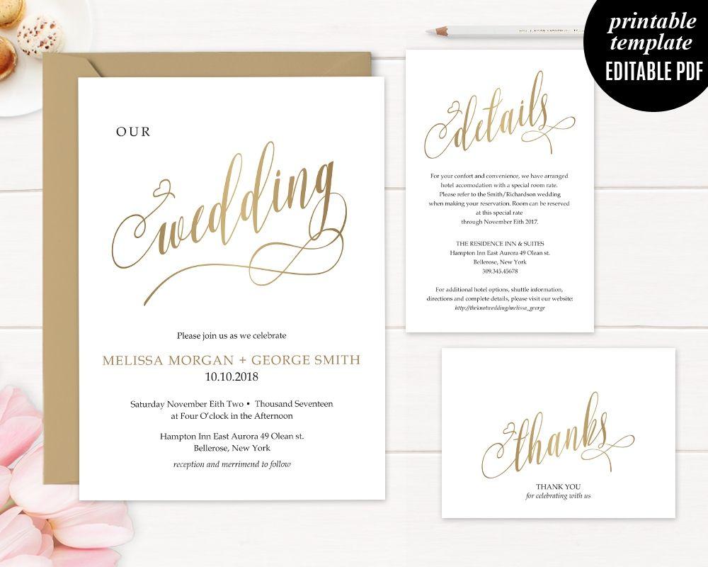 Faux Gold Wedding Invitation Set Template Printable Modern Elegant ...