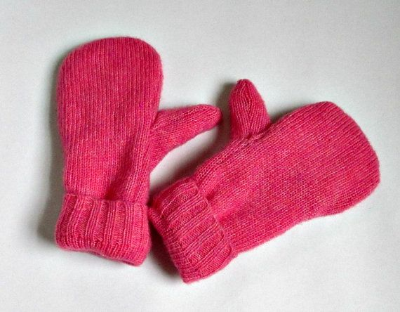 Recycled Wool Mittens-Pinkish Coral-Lined by allwrappedupandmore