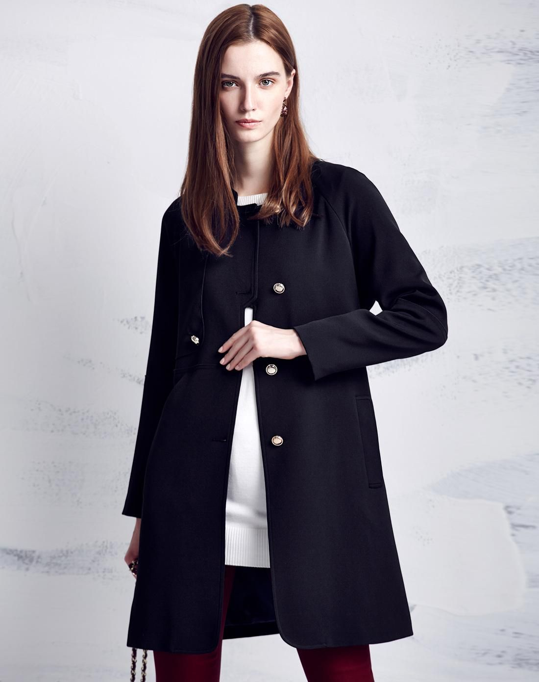 #AdoreWe #VIPme Coats - Moonbasa Black Minimalist Single Breasted Long Sleeve Coat - AdoreWe.com