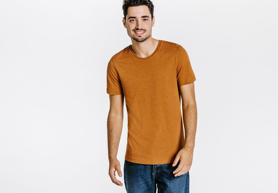 139cb41cbe54 Tee shirt col rond manches courtes coupe slim Camel Homme - Jules ...