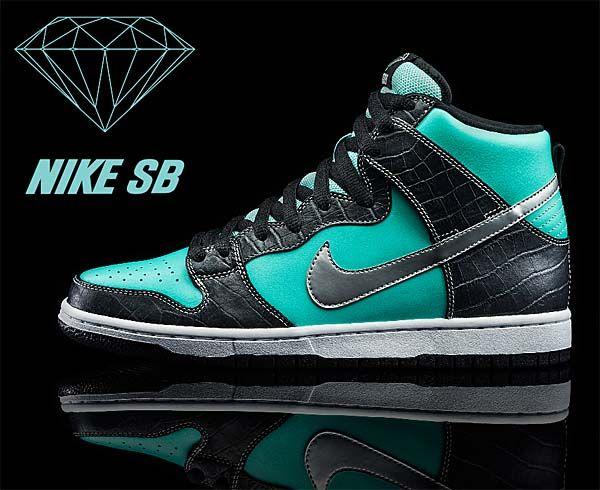 Nike Dunk High Premium Sb Tiffany Aqua Chrome Black 653599 400