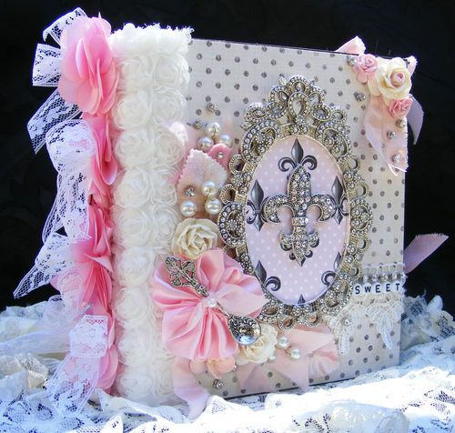 Elite4u Premade Scrapbook Album Girl Baby Princess Shabby Chic Style