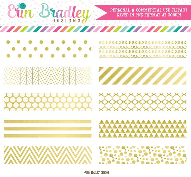 Gold Foil Digital Washi Tape Clipart – Erin Bradley/Ink Obsession Designs