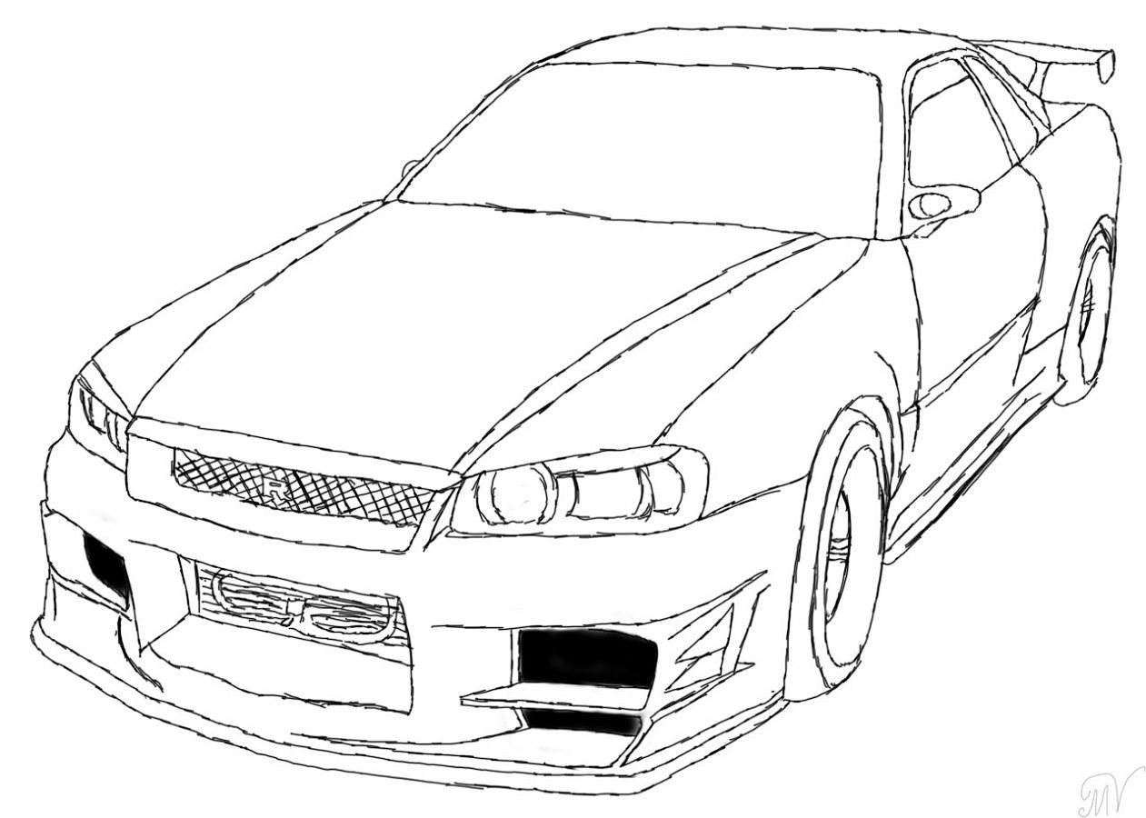 Fast and Furious Coloring Pages Nissan Skyline  Educative
