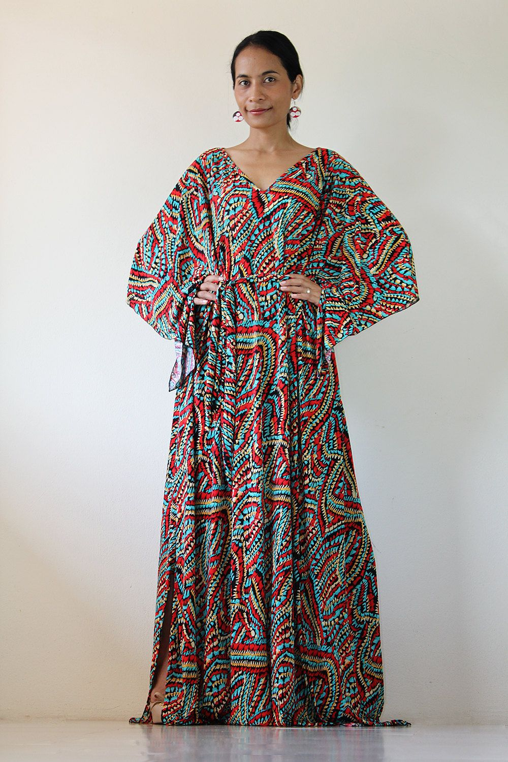 Boho Maxi Dress - Funky Long Wide Sleeve Graphic Tube Gown : Funky ...