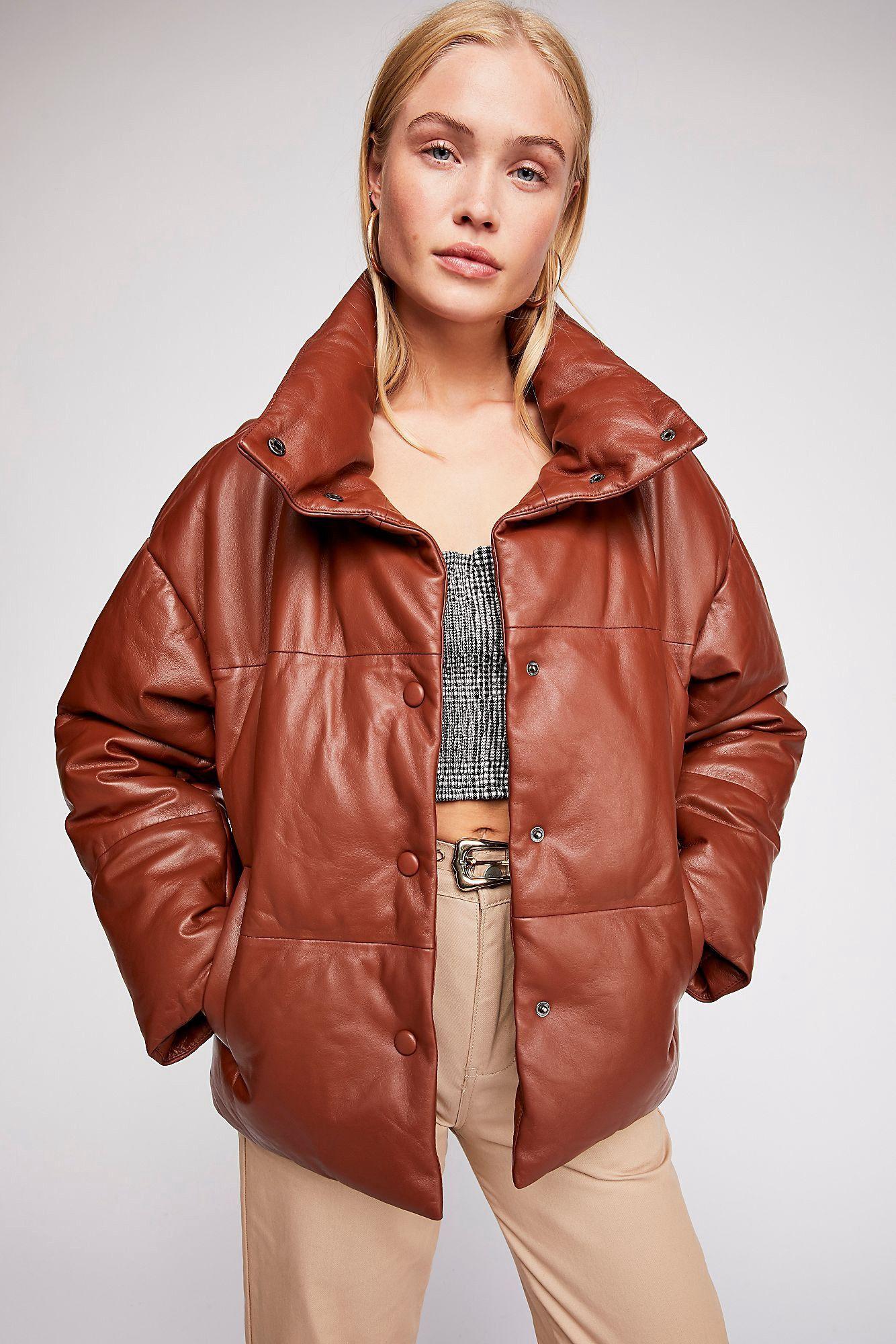 Free People Leather Puffer Jacket XS Puffer jackets