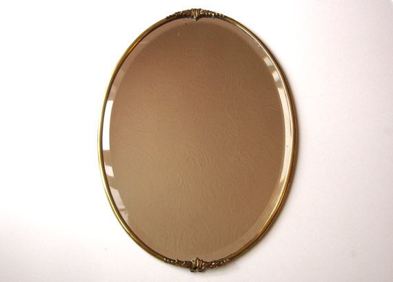 1930s Art Deco Brass Mirror Lead Backed, Vintage Brass Mirror Wall Hanging