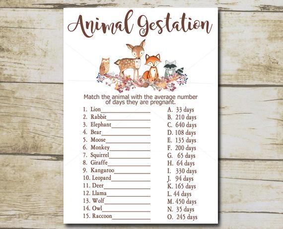 Woodland Baby Shower Game, Animal Gestation Game, Animal Pregnancy Game quiz, Woodland Forest animals, Printable Instant Download P01