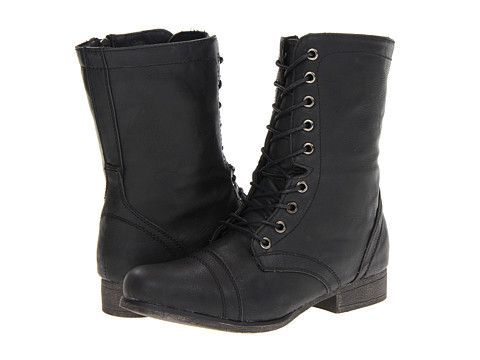 Girl Black Combat Boots - Yu Boots