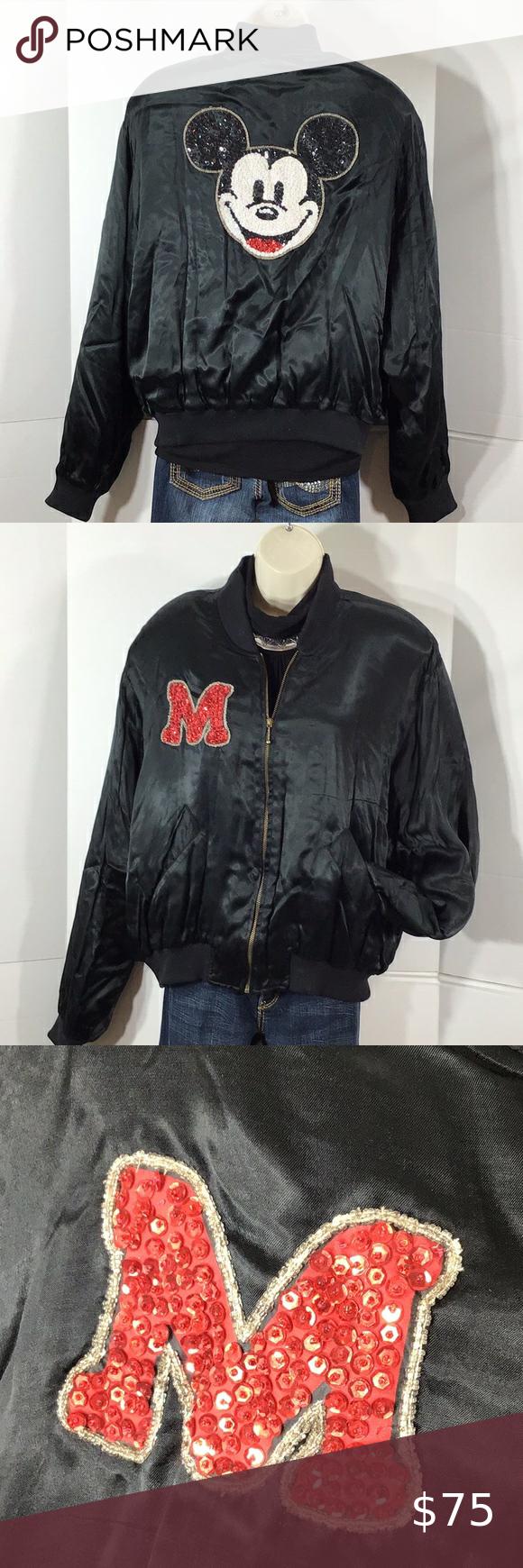 Disney Joujou Satin Mickey Mouse Bomber Jacket Bomber Jacket Black Bomber Jacket Clothes Design [ 1740 x 580 Pixel ]