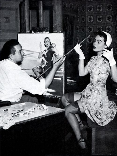 1940s, Pin-up artist Gil Elvgren with model
