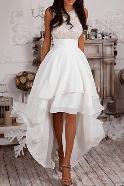 Sleeveless Lace Asymmetrical White Mini Dress | C u t e D ...