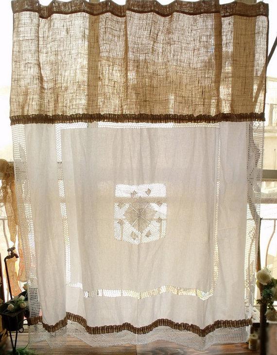 Vintage Farmhouse Crochet Shower Curtain Shabby Rustic Chic