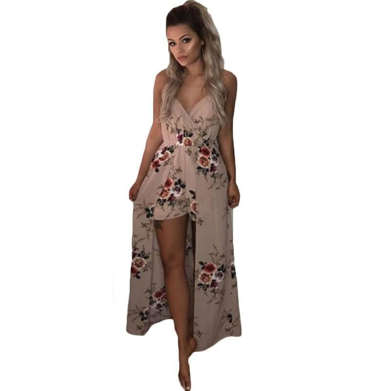 White Chiffon Front Silt Casual Style Backless Halter Top: Buy Angie Women's Spaghetti Strap Maxi Romper And Other
