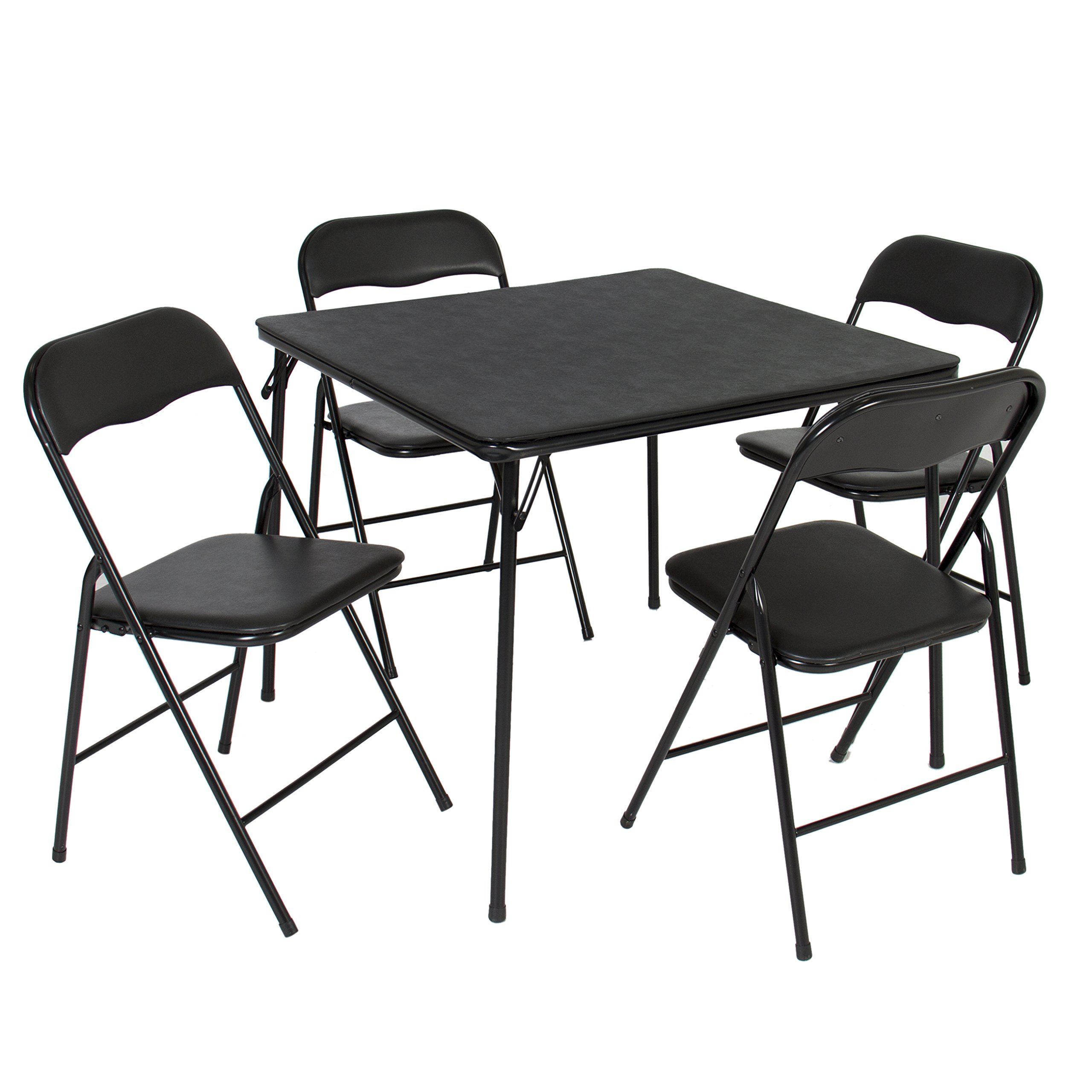 Best Choice Products 5 Piece Home Multipurpose Dining Set W Folding Table And Chairs Black
