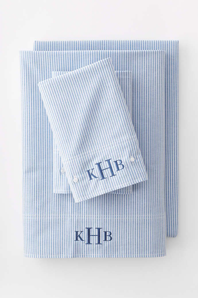 Oxford Stripe Sheets From Lands End Monogrammed Hand